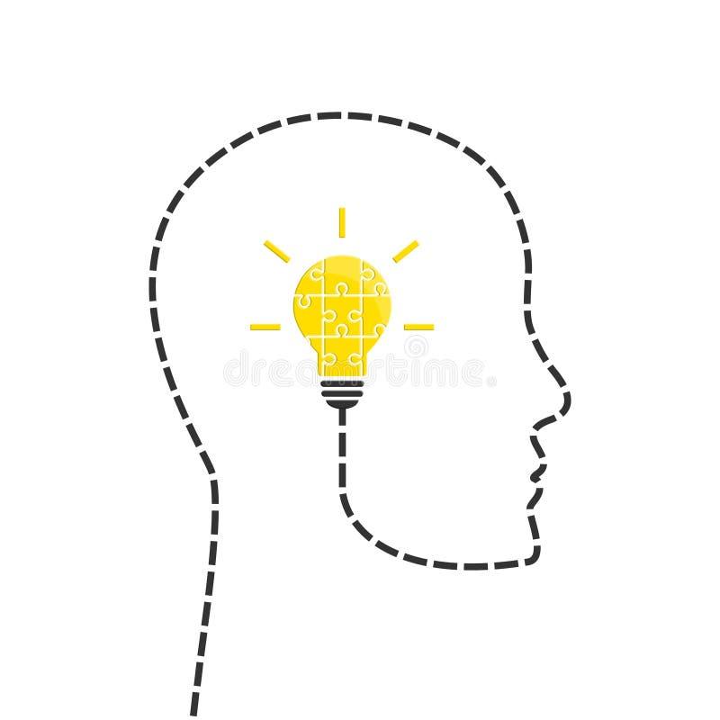 Il concetto di idea con la lampadina ha fatto il puzzle royalty illustrazione gratis