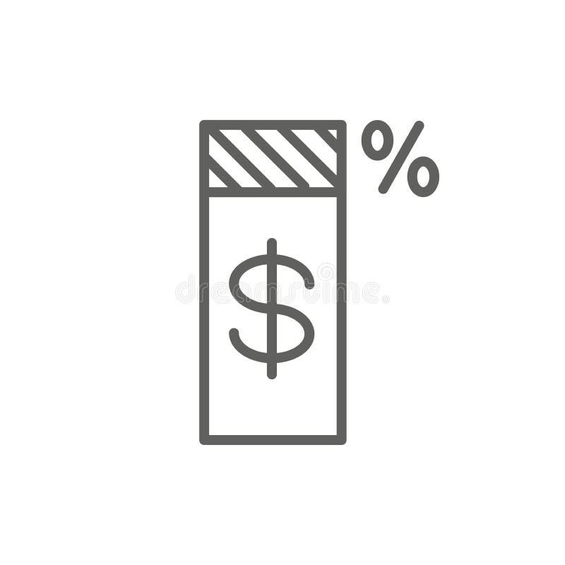 Il concetto di imposta con la percentuale l'idea ha pagato, dell'icona e di reddito Illustrazione piana del profilo di vettore royalty illustrazione gratis