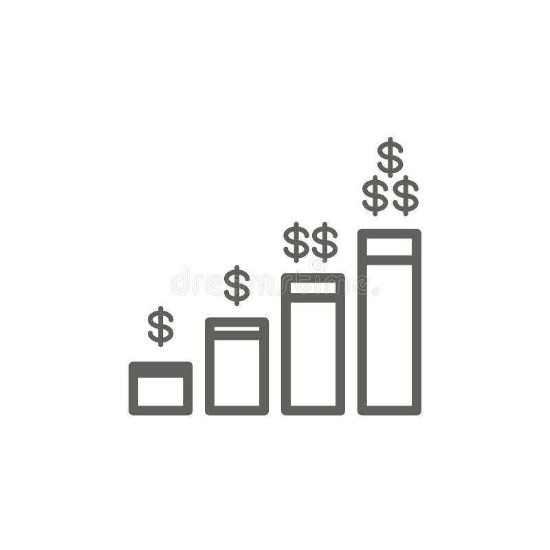 Il concetto di imposta con la percentuale l'idea ha pagato, dell'icona e di reddito Illustrazione piana del profilo di vettore illustrazione vettoriale