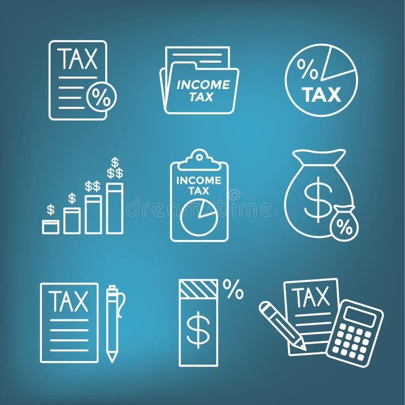 Il concetto di imposta con la percentuale l'idea ha pagato, dell'icona e di reddito Illustrazione piana del profilo di vettore illustrazione di stock