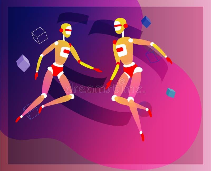 Il concetto di intelligenza artificiale e di lunedì cyber, progettazione futuristica di Cyberpunk, cyborg lavora al progetto surr illustrazione vettoriale