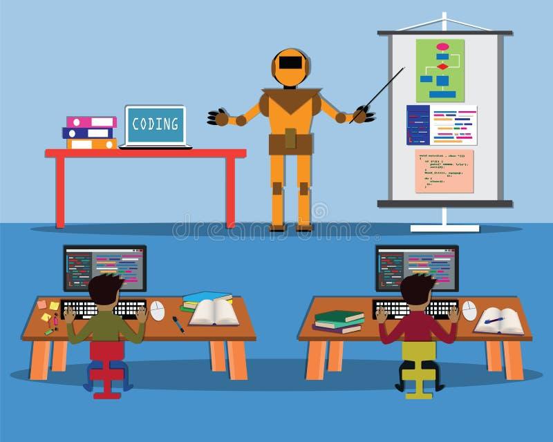 Il concetto di intelligenza artificiale, robot stava insegnando ai bambini per la codifica nella classe - vettore royalty illustrazione gratis