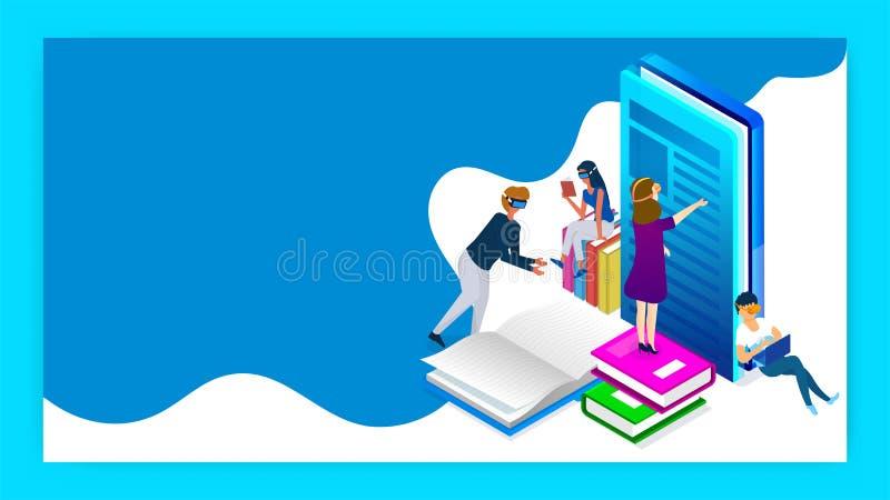 Il concetto di istruzione o dell'apprendimento ha basato la progettazione isometrica illustrazione di stock