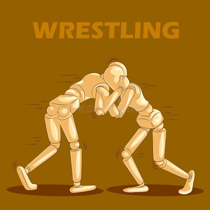 Il concetto di lottare mette in mostra con il manichino umano di legno illustrazione vettoriale