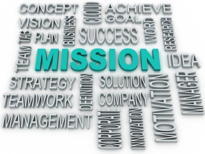 il concetto di missione 3d e di affari nella parola etichetta la nuvola illustrazione vettoriale