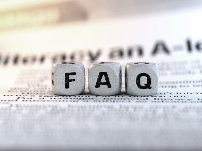 Il concetto di notizie, concetto del textFAQ dei dadi, ha fatto frequentemente le domande immagine stock libera da diritti