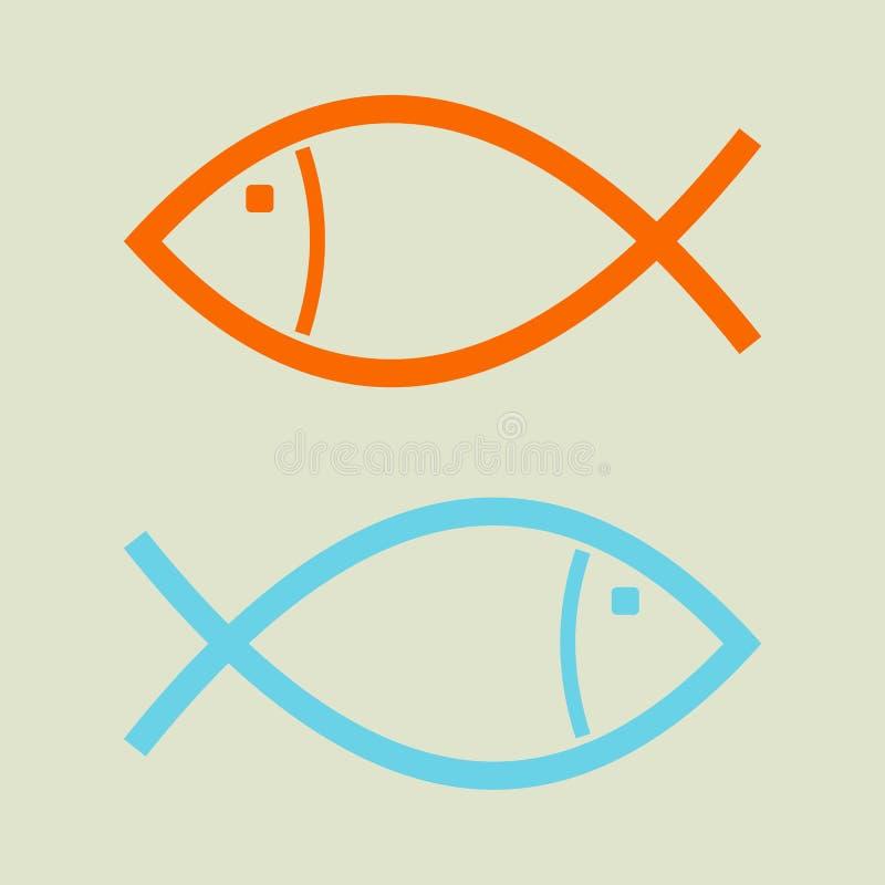 Il concetto di opposizione di affari Una nuotata di due pesci nella direzione opposta illustrazione di stock
