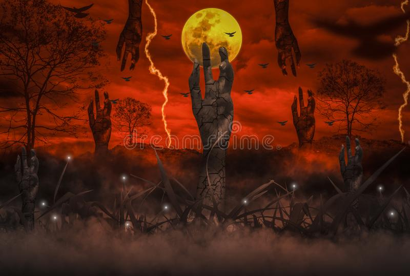 Il concetto di orrore di notte di Halloween, con la mano resuscitata dello zombie che emerge dall'inferno, luna sta galleggiando  illustrazione vettoriale
