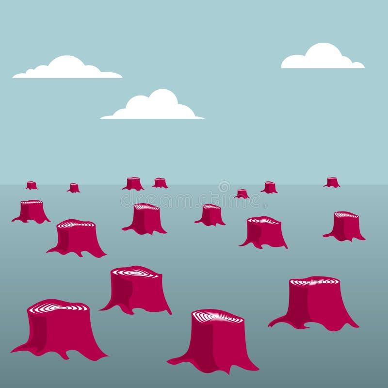 Il concetto di progetto di danno ambientale, ceppi di albero di disboscamento ha lasciato illustrazione di stock