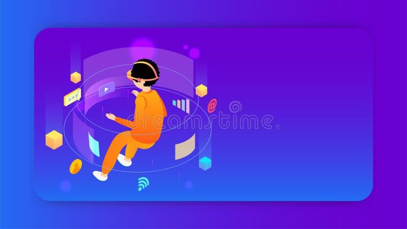 Il concetto di realtà virtuale ha basato la progettazione con l'illustrazione di usando dell'utente dei media sociali illustrazione di stock