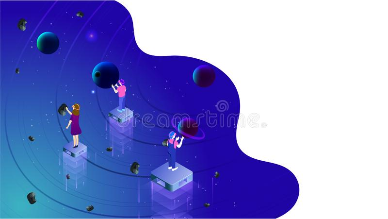 Il concetto di realtà virtuale ha basato la progettazione isometrica con l'illustrazione della gente che guarda all'universo imma royalty illustrazione gratis