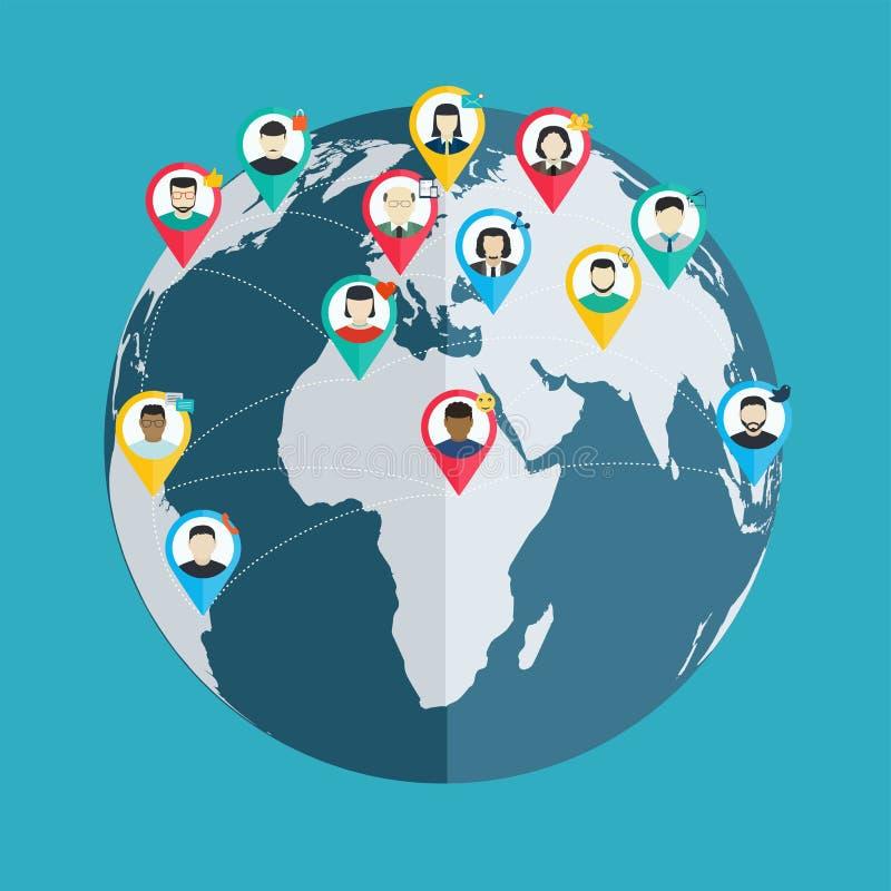 Il concetto di rete sociale, radio collega il peo illustrazione di stock