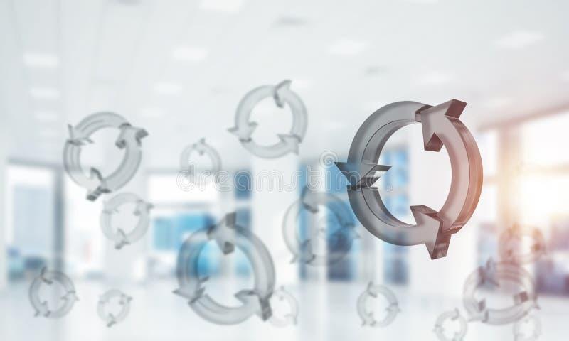 Il concetto di riutilizzazione e ricicla presentato dall'icona di vetro in aria miscela fotografie stock