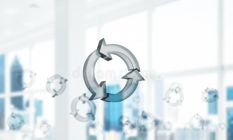 Il concetto di riutilizzazione e ricicla presentato dall'icona di vetro in aria miscela immagini stock
