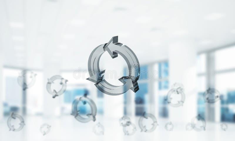 Il concetto di riutilizzazione e ricicla presentato dall'icona di vetro in aria miscela fotografia stock