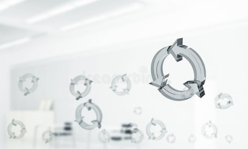 Il concetto di riutilizzazione e ricicla presentato dall'icona di vetro in aria miscela fotografia stock libera da diritti