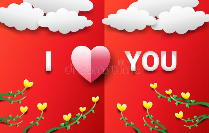 Il concetto di San Valentino consiste di un cuore rosa con un simbolo di amore per un fondo rosso C'è nuvole e cuore-forma gialla illustrazione di stock