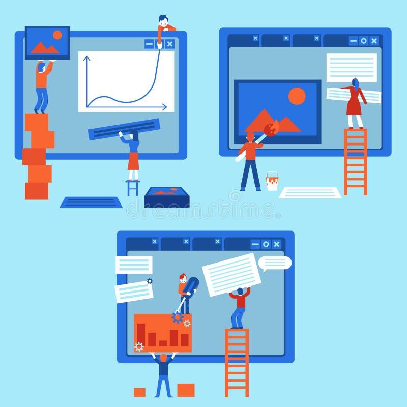 Il concetto di sviluppo Web ha messo con il sito Web di costruzione della gente, dipingendolo e riempiendo di contenuto illustrazione di stock