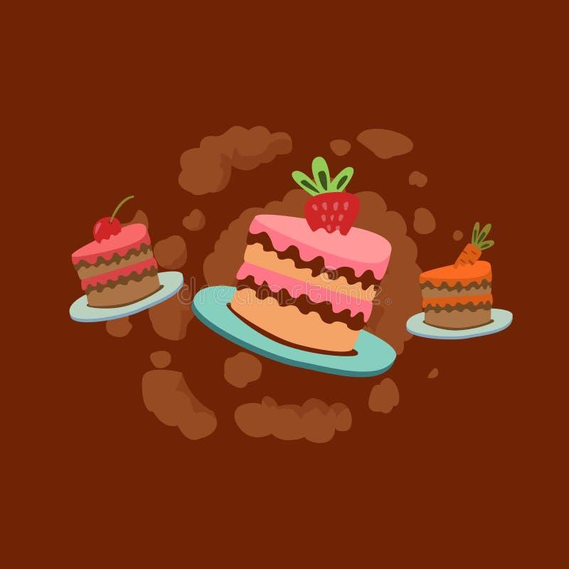 Il concetto di un'azione esplosiva e delle offerte per cuocere Molti dolci e torte di cioccolato illustrazione vettoriale