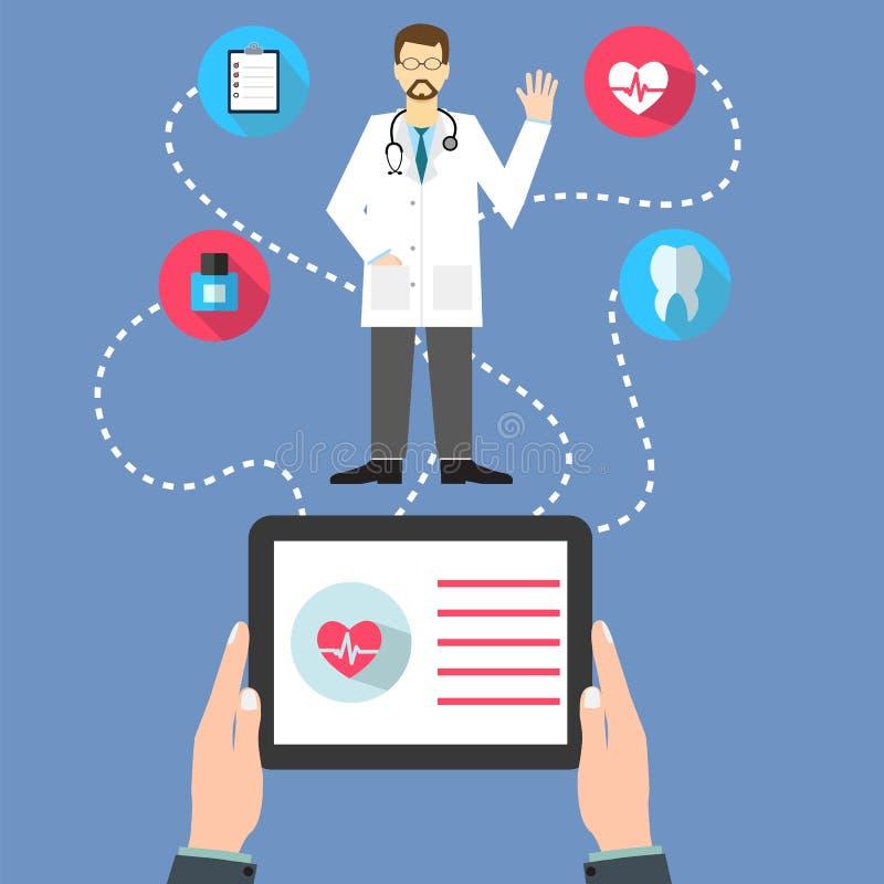 Il concetto di web della medicina con un medico con lo stetoscopio e l'uomo tengono illustrazione vettoriale