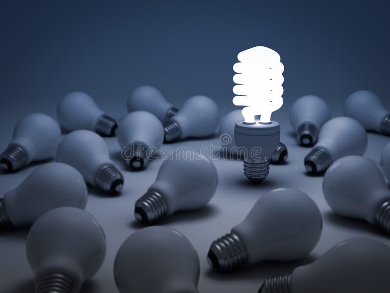 Il concetto differente, lampadina di risparmio di energia di Eco fotografia stock