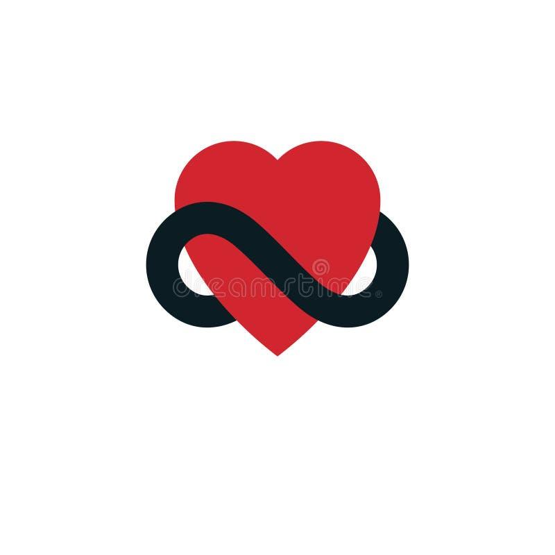 Il concetto eterno di amore, simbolo di vettore ha creato con il lo dell'infinito illustrazione di stock