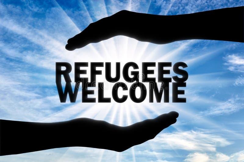 Il concetto, Europa è pronto ad aiutare ed accettare i rifugiati Benvenuto dei rifugiati fotografia stock libera da diritti