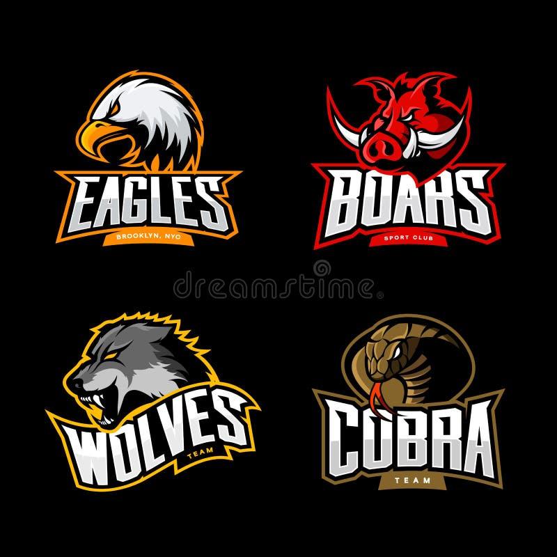 Il concetto furioso di logo di vettore di sport della cobra, del lupo, dell'aquila e del verro ha messo su fondo scuro royalty illustrazione gratis