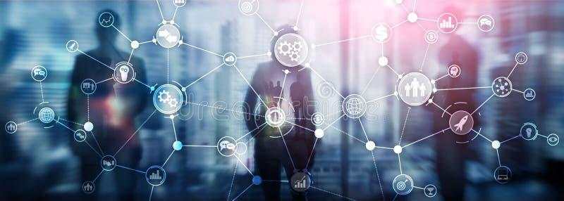 Il concetto industriale dell'innovazione di automazione del diagramma di flusso di lavoro della struttura di processo aziendale s fotografie stock libere da diritti