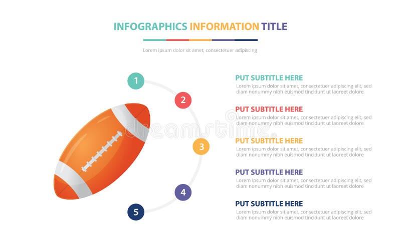 Il concetto infographic del modello di rugby di football americano con cinque punti elenca e vario colore con fondo bianco modern royalty illustrazione gratis