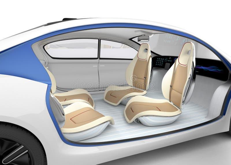 Il concetto interno dell'automobile autonoma Il volante piegante di offerta dell'automobile, sedile del passeggero rotabile fotografia stock libera da diritti
