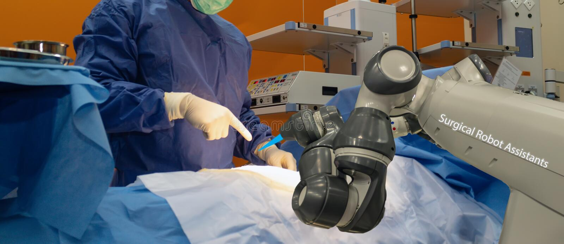 Il concetto medico astuto della tecnologia, macchina robot avanzata della chirurgia all'ospedale, ambulatorio robot è precisione, fotografie stock libere da diritti