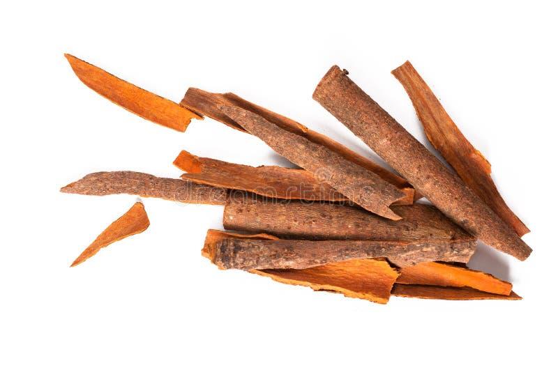 Il concetto Orientale dell'alimento aromatizza la cannella Cassia Bark Sticks su fondo bianco con lo spazio della copia fotografie stock libere da diritti