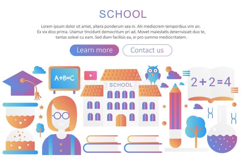 Il concetto panoramico del fondo del manifesto del modello con la pendenza moderna dell'edificio scolastico e dell'insegnante vec royalty illustrazione gratis