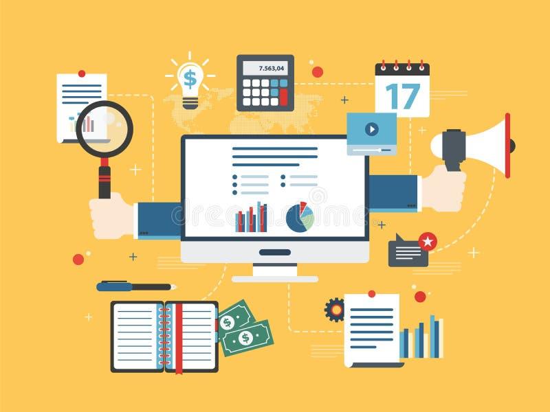 Il concetto piano dell'illustrazione di vettore di progettazione dell'investimento finanziario, analisi dei dati con la crescita  illustrazione vettoriale