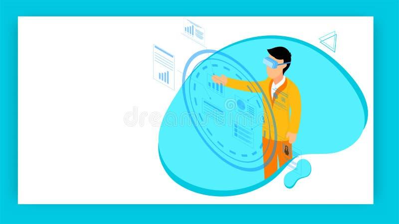 Il concetto piano di realtà virtuale di stile ha basato la progettazione con l'illustrazione dell'uomo d'affari che lavora allo s illustrazione vettoriale