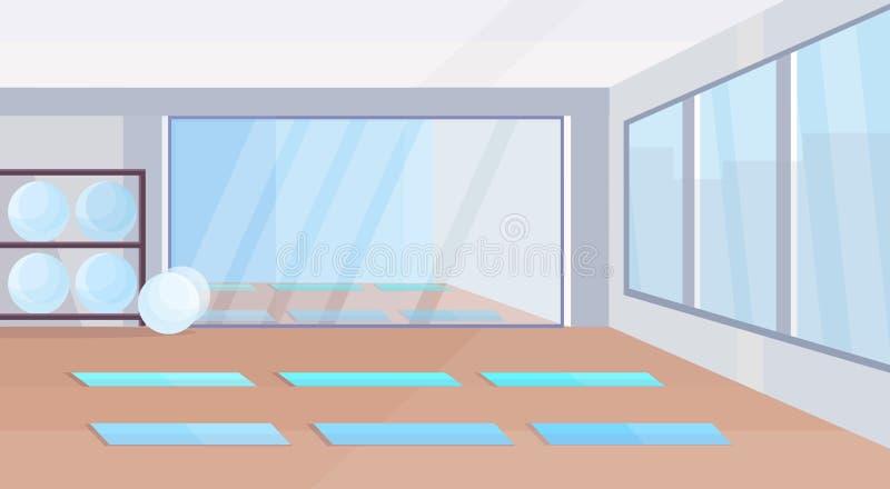 Il concetto sano di stile di vita dello studio di yoga non svuota interior design della palestra della gente con le palle specchi illustrazione vettoriale