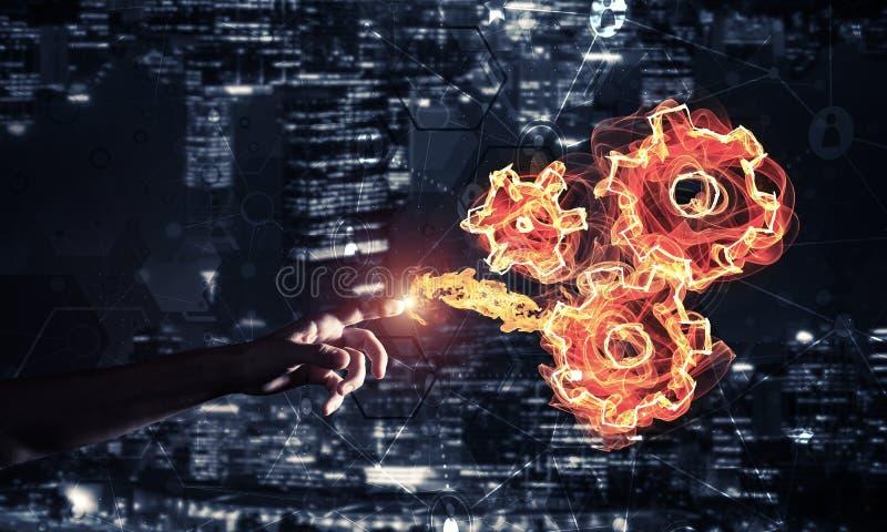 Il concetto teamworking o dell'organizzazione ha presentato emettendo luce del fuoco illustrazione vettoriale