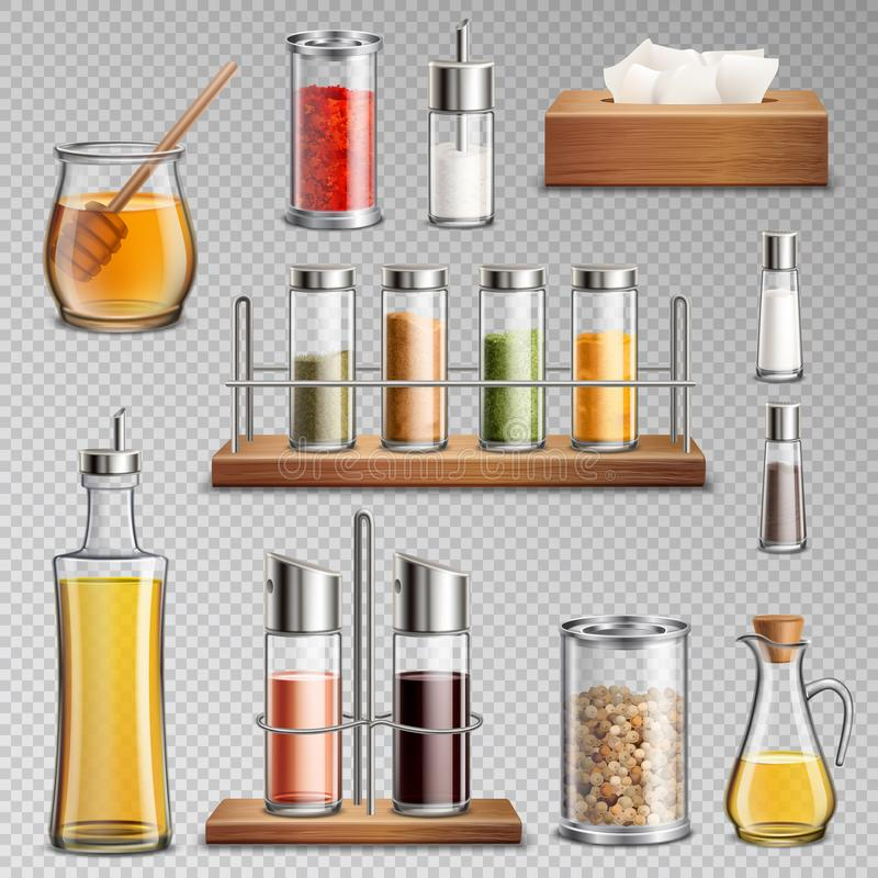 Il condimento aromatizza l'insieme realistico trasparente illustrazione vettoriale