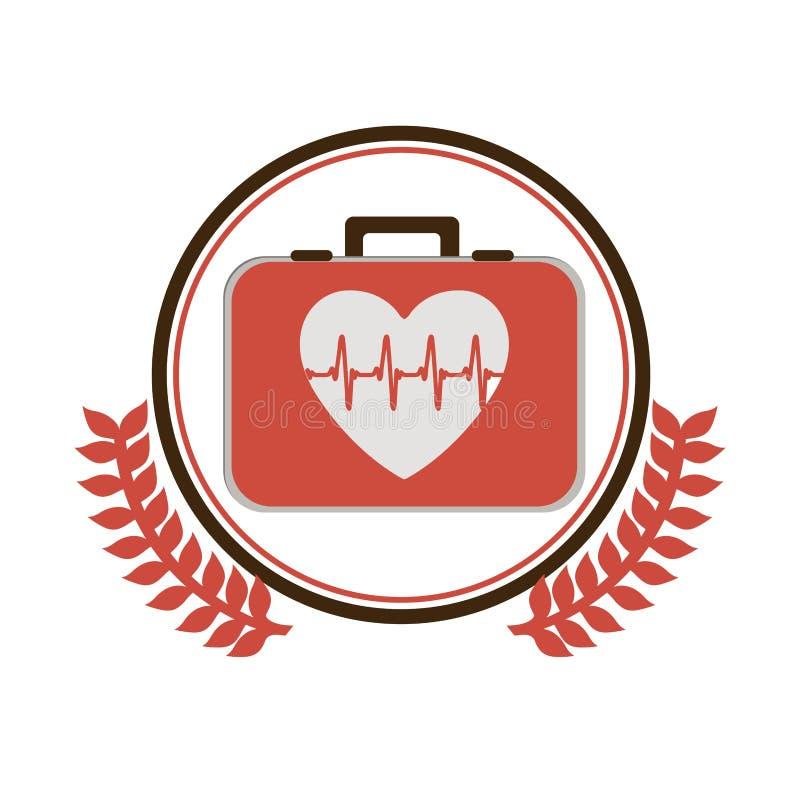 Il confine circolare con l'ornamento va con la cassetta di pronto soccorso con cuore con i segni di vita illustrazione vettoriale