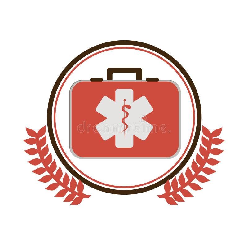 il confine circolare con l'ornamento va con la cassetta di pronto soccorso con il simbolo di salute con il serpente si intreccia illustrazione di stock