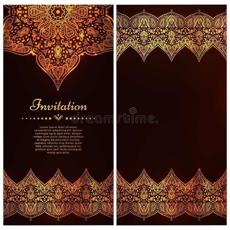 Il confine decorato ed il posto di vettore per il vostro cioccolato progettano Carte decorate d'annata nello stile orientale Flor illustrazione vettoriale