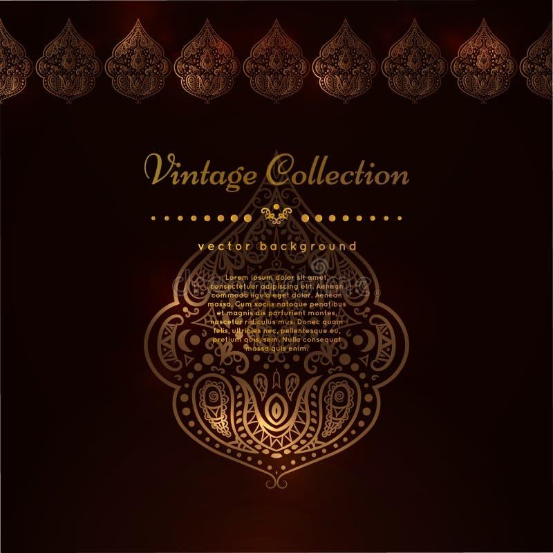 Il confine decorato ed il posto di vettore per il vostro cioccolato progettano Carte decorate d'annata nello stile orientale Flor illustrazione di stock