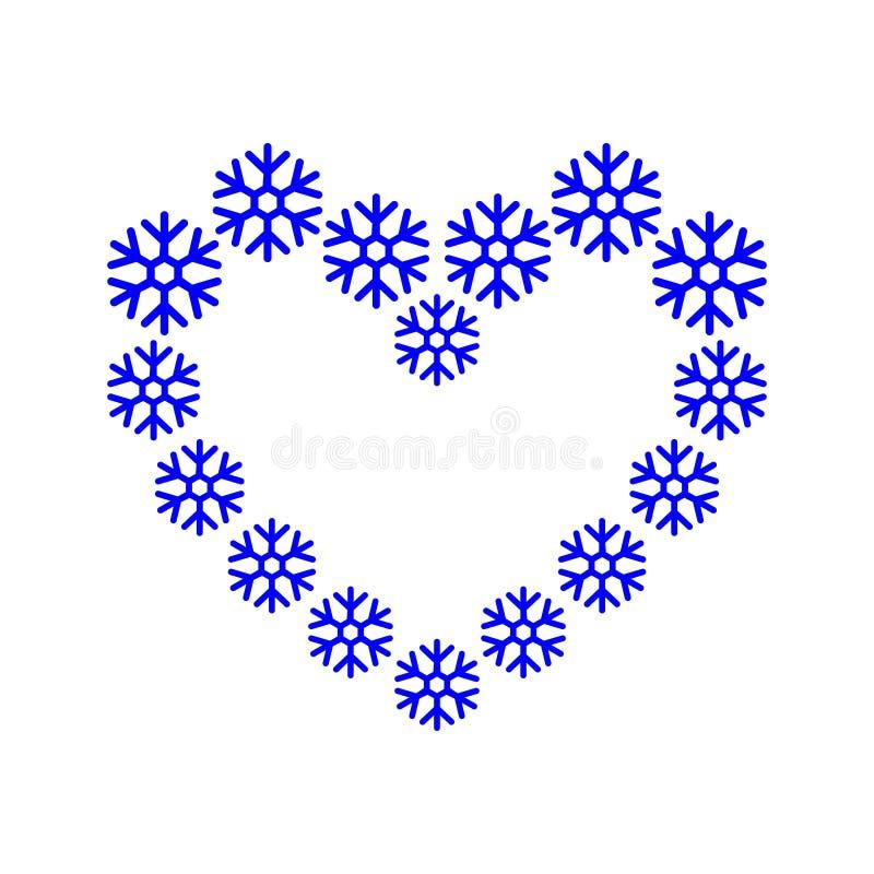 Il confine della pagina, fiocco di neve ha allineato in un colore blu di forma del cuore Cuore dai fiocchi di neve Illustrazione  illustrazione di stock