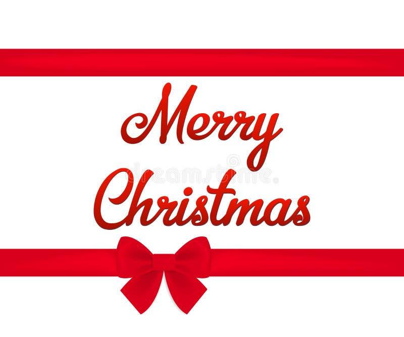 Il confine orizzontale ed il Buon Natale dell'arco rosso del nastro mandano un sms a Illustrazione di vettore royalty illustrazione gratis