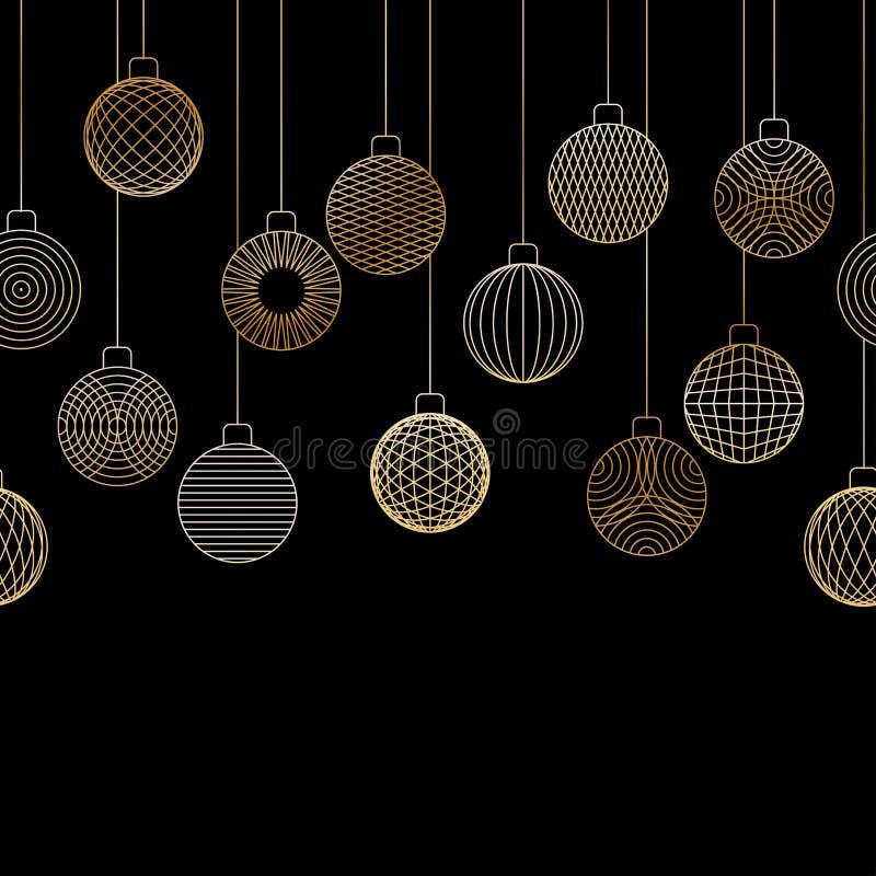 Il confine senza cuciture decorativo fatto della palla dorata di Natale gioca illustrazione di stock