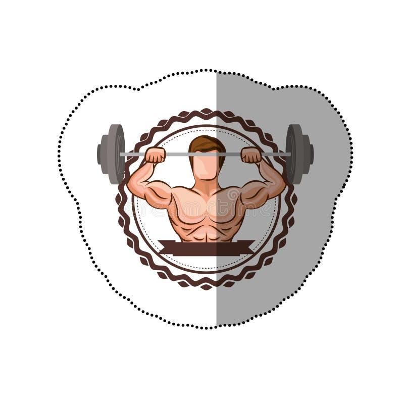 il confine variopinto dell'autoadesivo con l'uomo del muscolo che solleva un disco pesa ed etichetta royalty illustrazione gratis