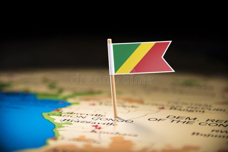 Il Congo ha segnato con una bandiera sulla mappa immagine stock