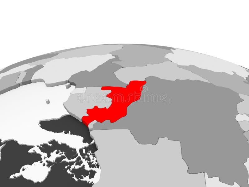 Il Congo sul globo grigio illustrazione di stock