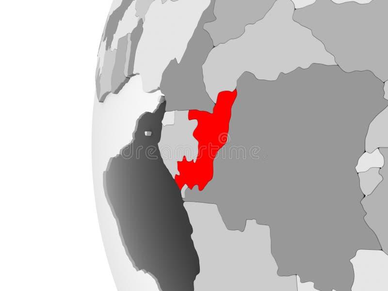 Il Congo sul globo grigio royalty illustrazione gratis